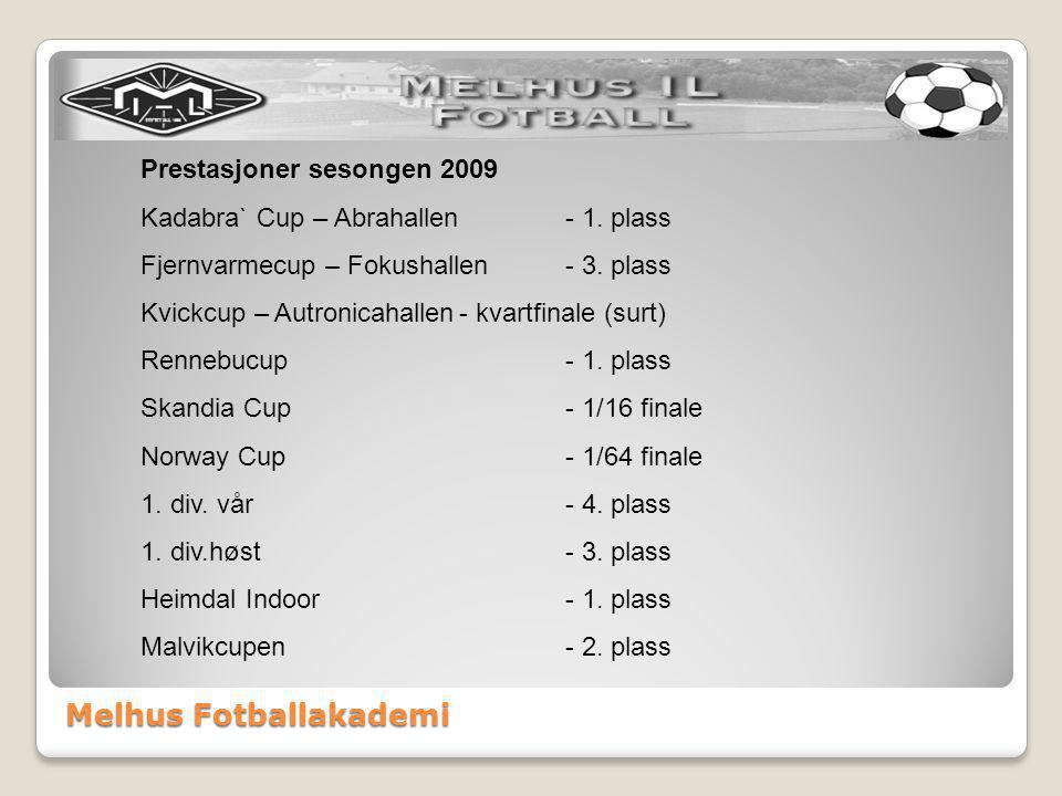 Melhus Fotballakademi Prestasjoner sesongen 2009 Kadabra` Cup – Abrahallen- 1. plass Fjernvarmecup – Fokushallen- 3. plass Kvickcup – Autronicahallen-