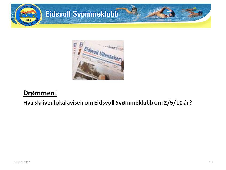 Drømmen! Hva skriver lokalavisen om Eidsvoll Svømmeklubb om 2/5/10 år? 03.07.201410