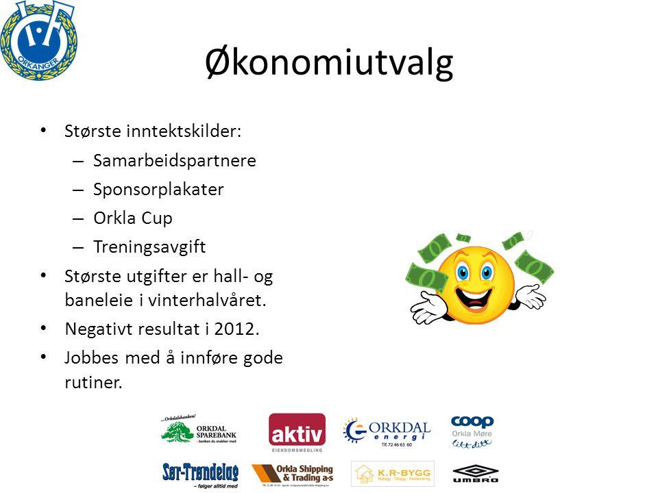Økonomiutvalg • Største inntektskilder: – Samarbeidspartnere – Sponsorplakater – Orkla Cup – Treningsavgift • Største utgifter er hall- og baneleie i