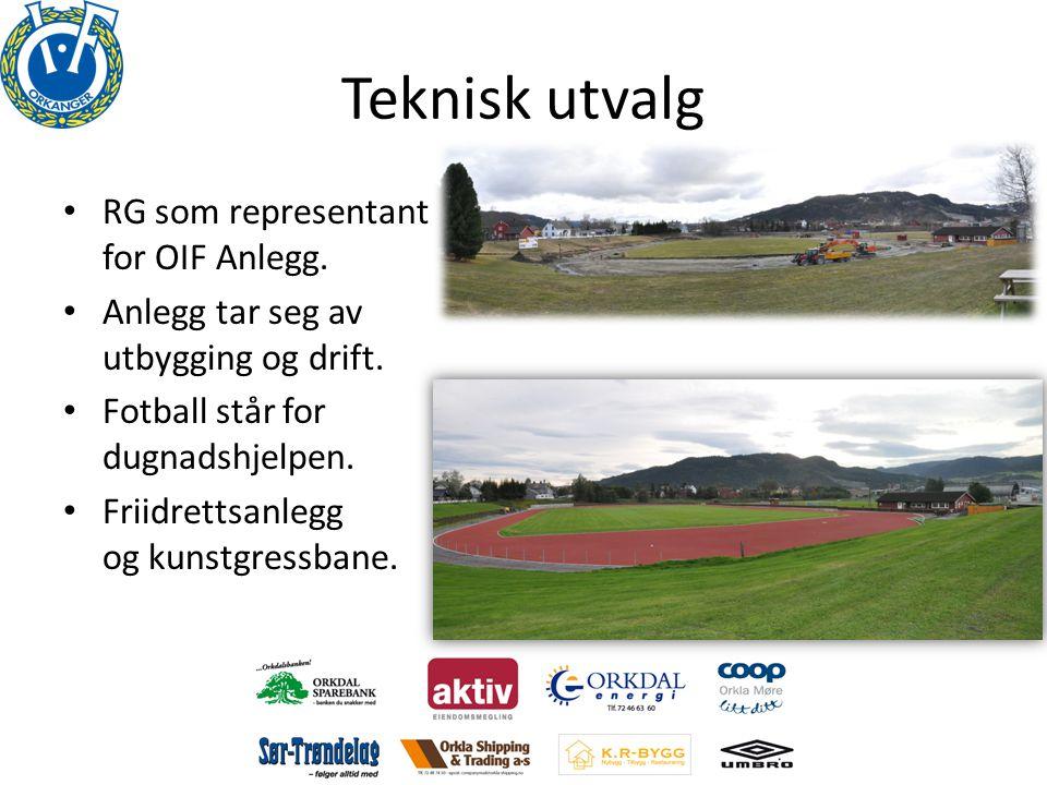 Teknisk utvalg • RG som representant for OIF Anlegg. • Anlegg tar seg av utbygging og drift. • Fotball står for dugnadshjelpen. • Friidrettsanlegg og