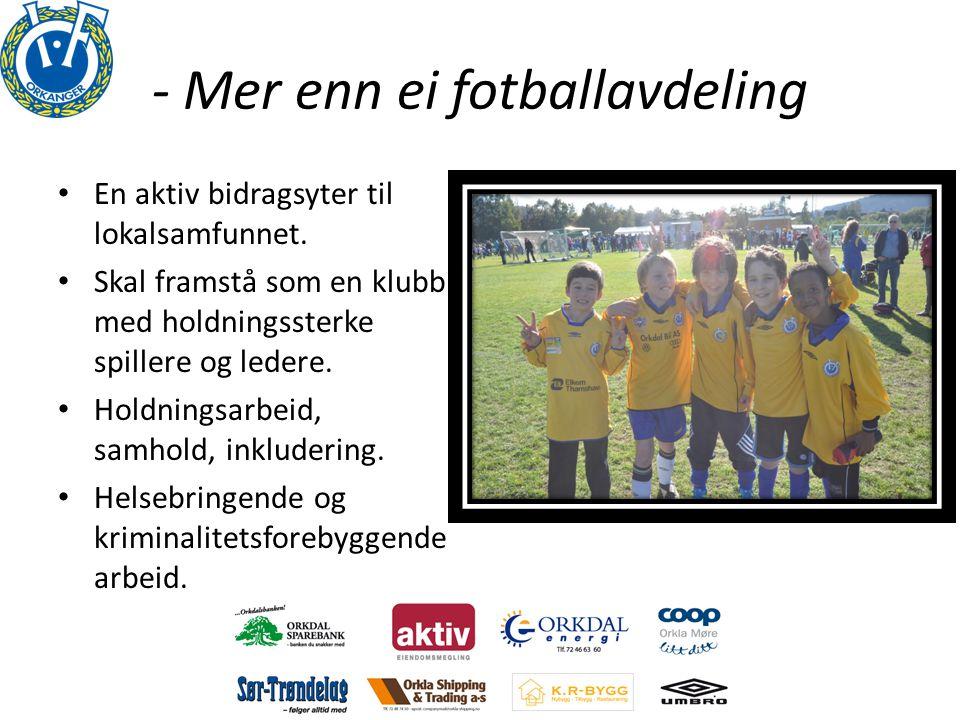 - Mer enn ei fotballavdeling • En aktiv bidragsyter til lokalsamfunnet. • Skal framstå som en klubb med holdningssterke spillere og ledere. • Holdning