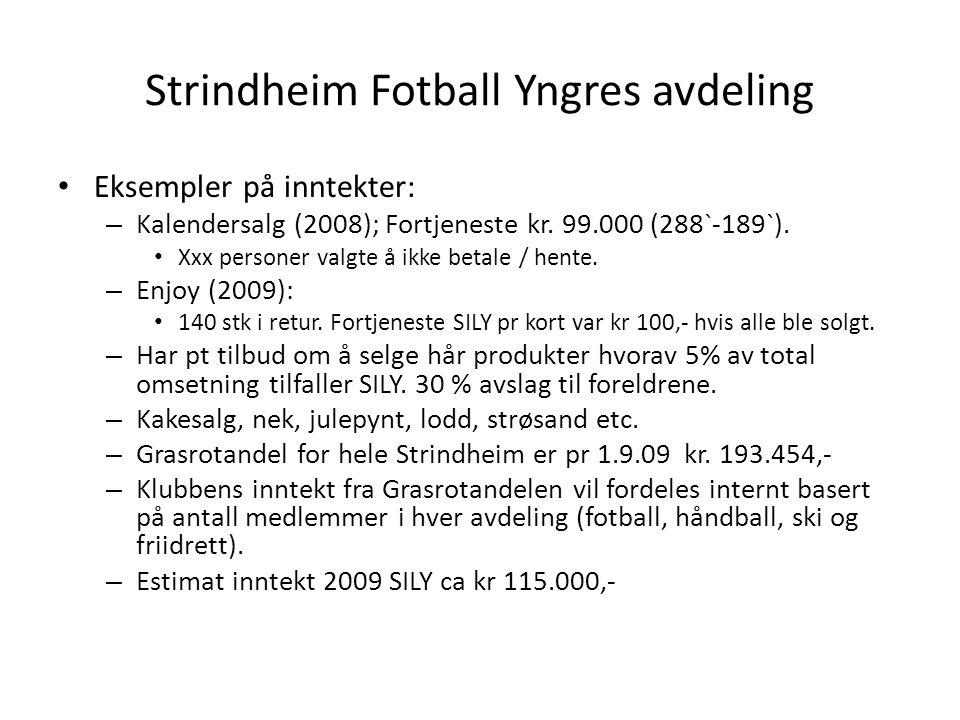 Strindheim Fotball Yngres avdeling • Eksempler på inntekter: – Kalendersalg (2008); Fortjeneste kr.