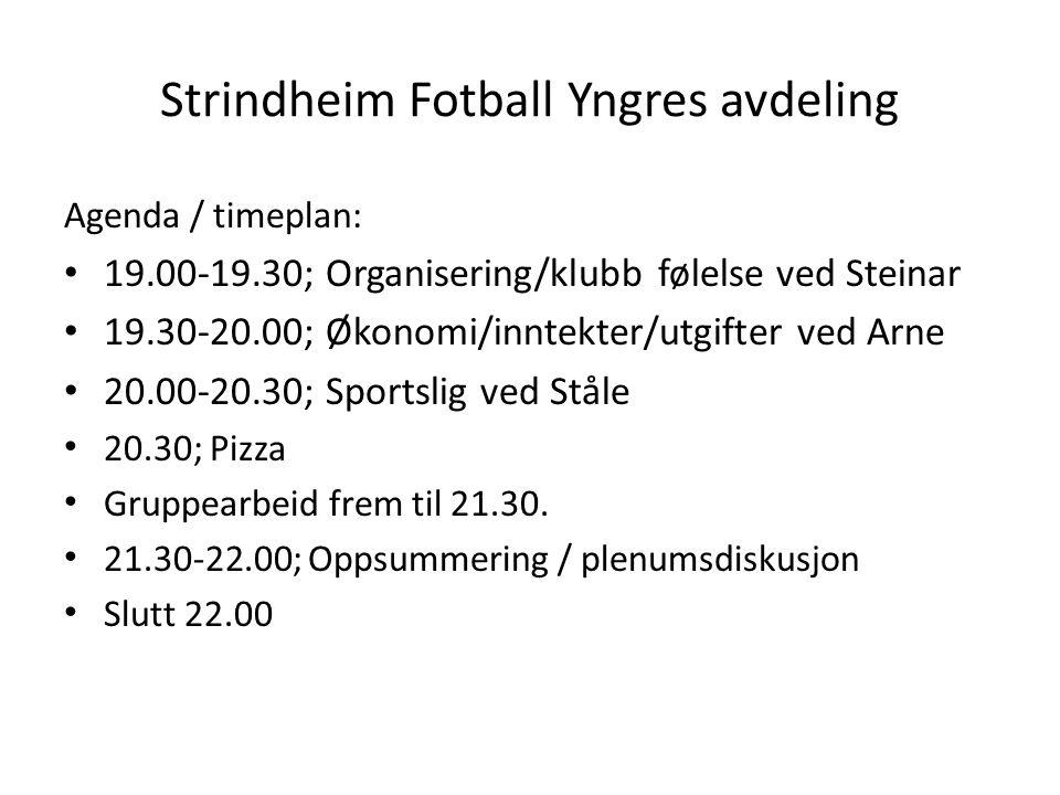 Strindheim Fotball Yngres avdeling Agenda / timeplan: • 19.00-19.30; Organisering/klubb følelse ved Steinar • 19.30-20.00; Økonomi/inntekter/utgifter ved Arne • 20.00-20.30; Sportslig ved Ståle • 20.30; Pizza • Gruppearbeid frem til 21.30.