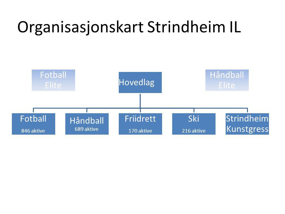 Organisasjonskart Strindheim IL Fotball Elite Håndball Elite Hovedlag Fotball 846 aktive Håndball 689 aktive Friidrett 170 aktive Ski 216 aktive Strindheim Kunstgress