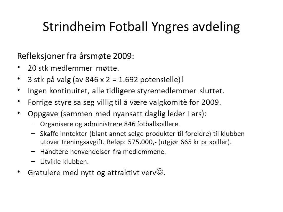 Strindheim Fotball Yngres avdeling Refleksjoner fra årsmøte 2009: • 20 stk medlemmer møtte.