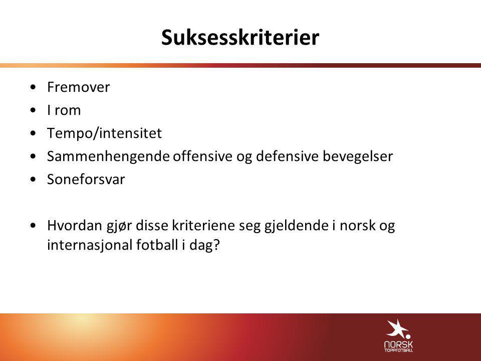 Suksesskriterier •Fremover •I rom •Tempo/intensitet •Sammenhengende offensive og defensive bevegelser •Soneforsvar •Hvordan gjør disse kriteriene seg gjeldende i norsk og internasjonal fotball i dag.