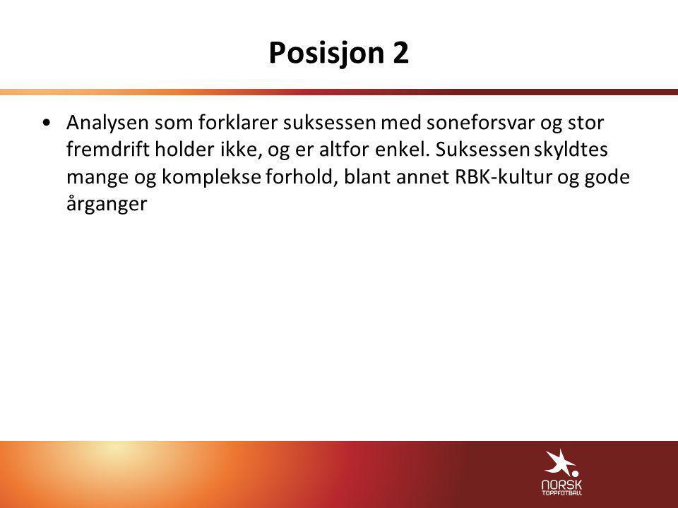 Posisjon 2 •Analysen som forklarer suksessen med soneforsvar og stor fremdrift holder ikke, og er altfor enkel.