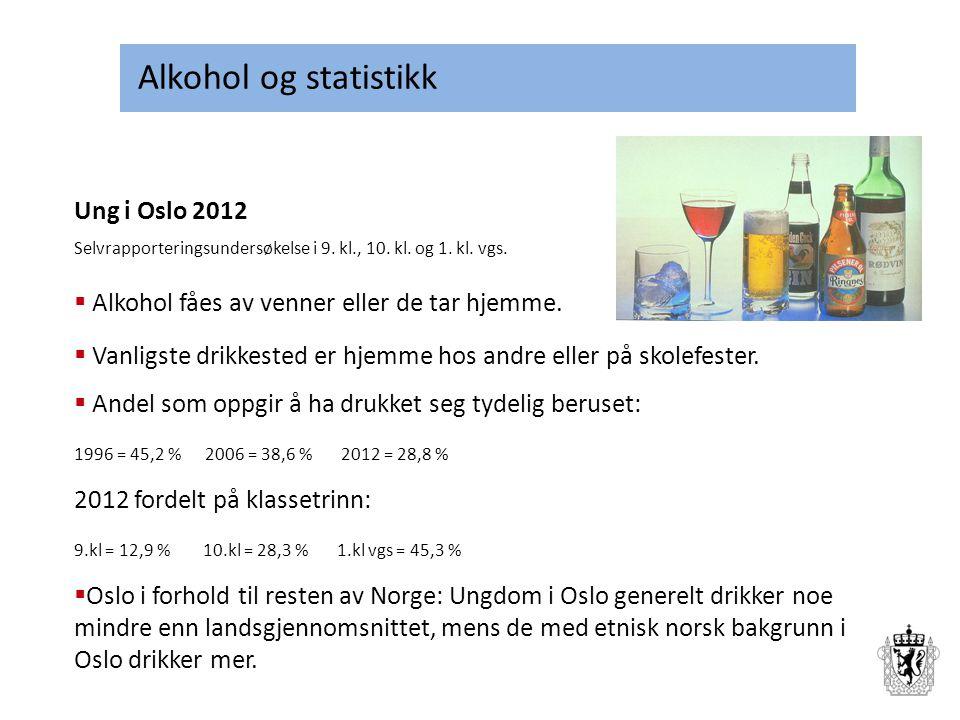 Alkohol og statistikk Ung i Oslo 2012 Selvrapporteringsundersøkelse i 9. kl., 10. kl. og 1. kl. vgs.  Alkohol fåes av venner eller de tar hjemme.  V