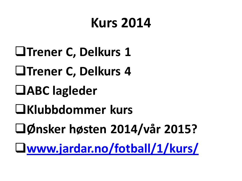 Kurs 2014  Trener C, Delkurs 1  Trener C, Delkurs 4  ABC lagleder  Klubbdommer kurs  Ønsker høsten 2014/vår 2015?  www.jardar.no/fotball/1/kurs/