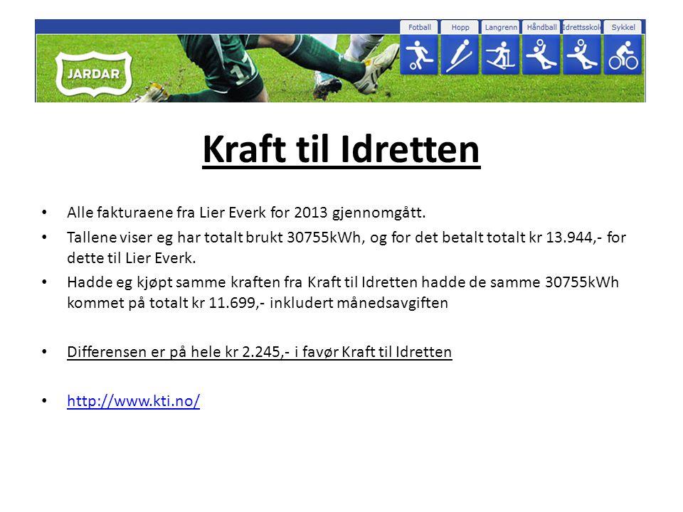 Kraft til Idretten • Alle fakturaene fra Lier Everk for 2013 gjennomgått. • Tallene viser eg har totalt brukt 30755kWh, og for det betalt totalt kr 13