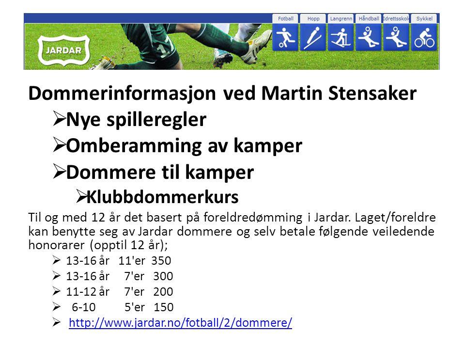 Dommerinformasjon ved Martin Stensaker  Nye spilleregler  Omberamming av kamper  Dommere til kamper  Klubbdommerkurs Til og med 12 år det basert på foreldredømming i Jardar.