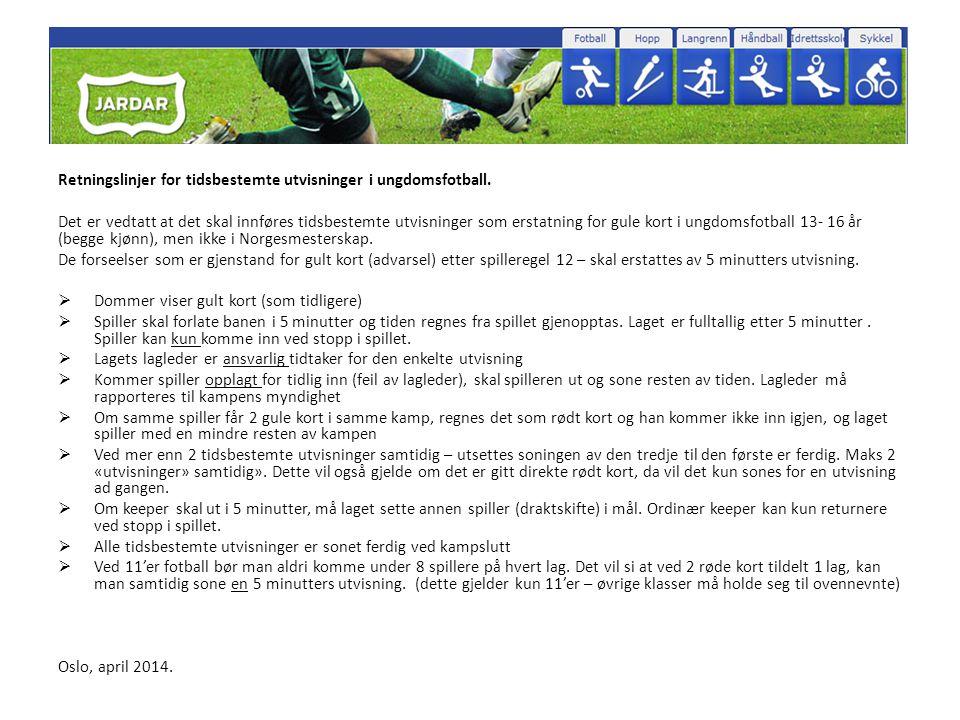 Retningslinjer for tidsbestemte utvisninger i ungdomsfotball. Det er vedtatt at det skal innføres tidsbestemte utvisninger som erstatning for gule kor