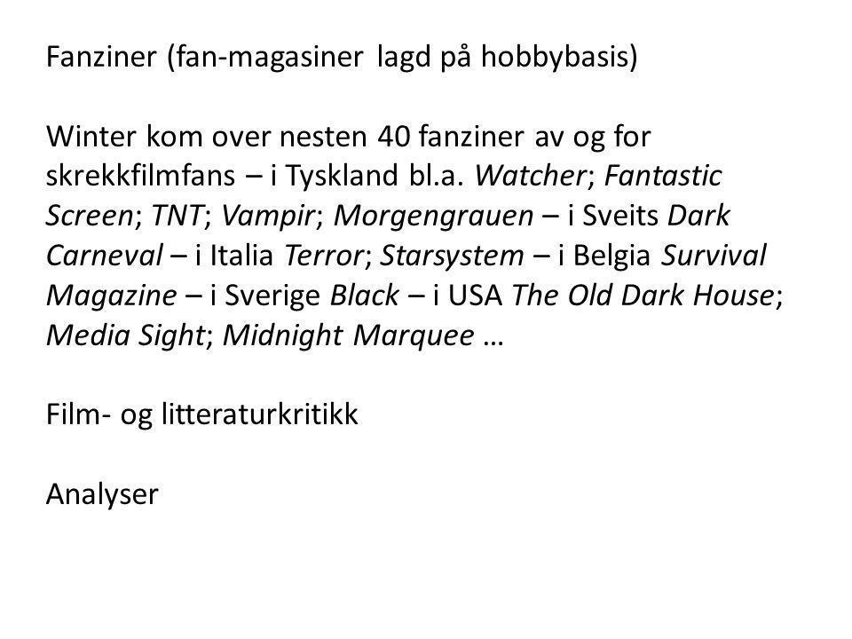 Fanziner (fan-magasiner lagd på hobbybasis) Winter kom over nesten 40 fanziner av og for skrekkfilmfans – i Tyskland bl.a. Watcher; Fantastic Screen;