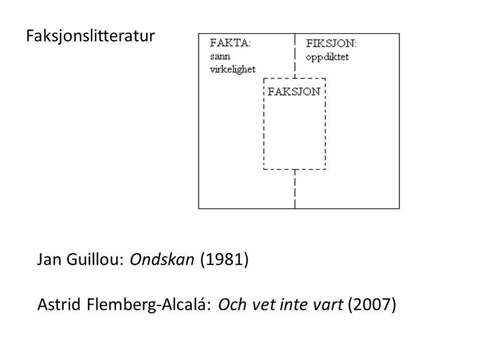 Faksjonslitteratur Jan Guillou: Ondskan (1981) Astrid Flemberg-Alcalá: Och vet inte vart (2007)
