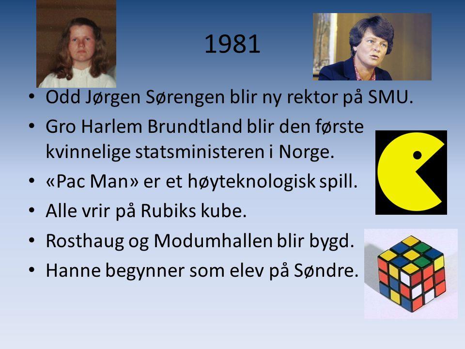 1981 • Odd Jørgen Sørengen blir ny rektor på SMU. • Gro Harlem Brundtland blir den første kvinnelige statsministeren i Norge. • «Pac Man» er et høytek