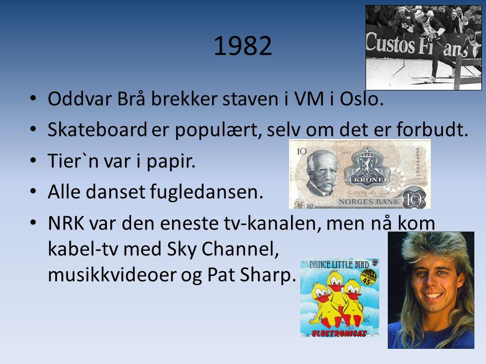 1982 • Oddvar Brå brekker staven i VM i Oslo. • Skateboard er populært, selv om det er forbudt. • Tier`n var i papir. • Alle danset fugledansen. • NRK