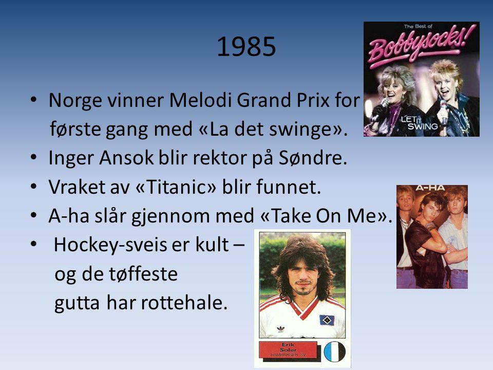 1985 • Norge vinner Melodi Grand Prix for første gang med «La det swinge». • Inger Ansok blir rektor på Søndre. • Vraket av «Titanic» blir funnet. • A