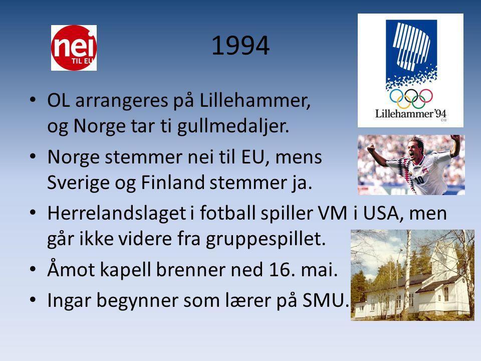 1994 • OL arrangeres på Lillehammer, og Norge tar ti gullmedaljer. • Norge stemmer nei til EU, mens Sverige og Finland stemmer ja. • Herrelandslaget i