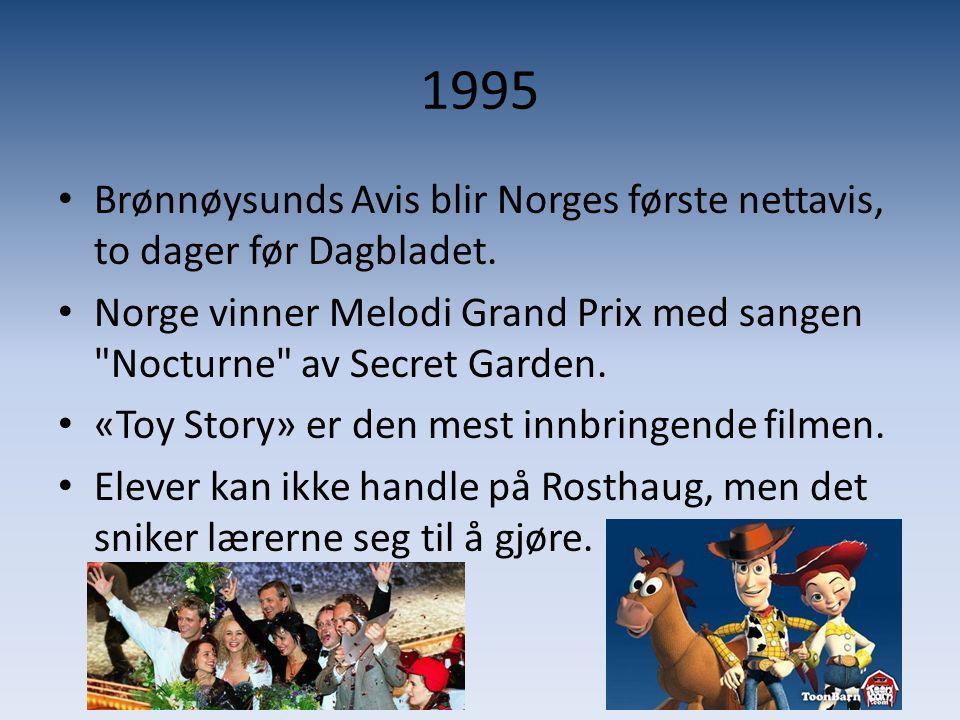 1995 • Brønnøysunds Avis blir Norges første nettavis, to dager før Dagbladet. • Norge vinner Melodi Grand Prix med sangen