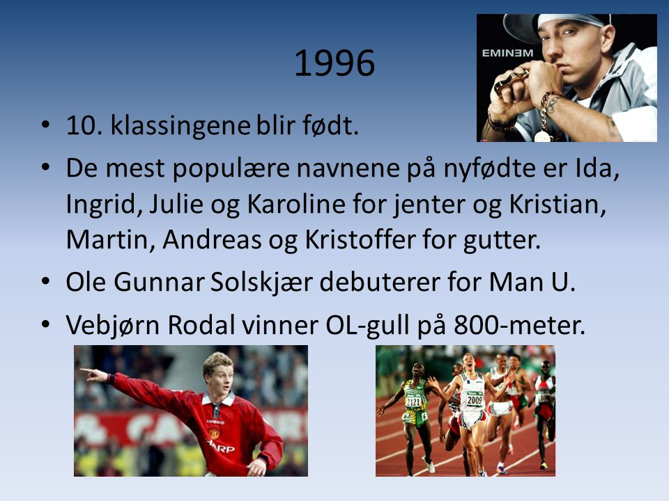 1996 • 10. klassingene blir født. • De mest populære navnene på nyfødte er Ida, Ingrid, Julie og Karoline for jenter og Kristian, Martin, Andreas og K