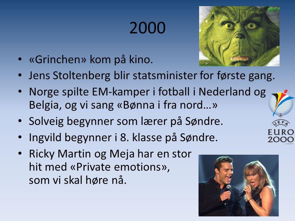 2000 • «Grinchen» kom på kino. • Jens Stoltenberg blir statsminister for første gang. • Norge spilte EM-kamper i fotball i Nederland og Belgia, og vi