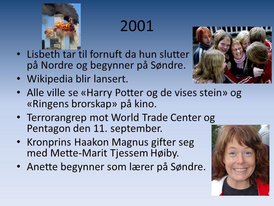2001 • Lisbeth tar til fornuft da hun slutter på Nordre og begynner på Søndre. • Wikipedia blir lansert. • Alle ville se «Harry Potter og de vises ste