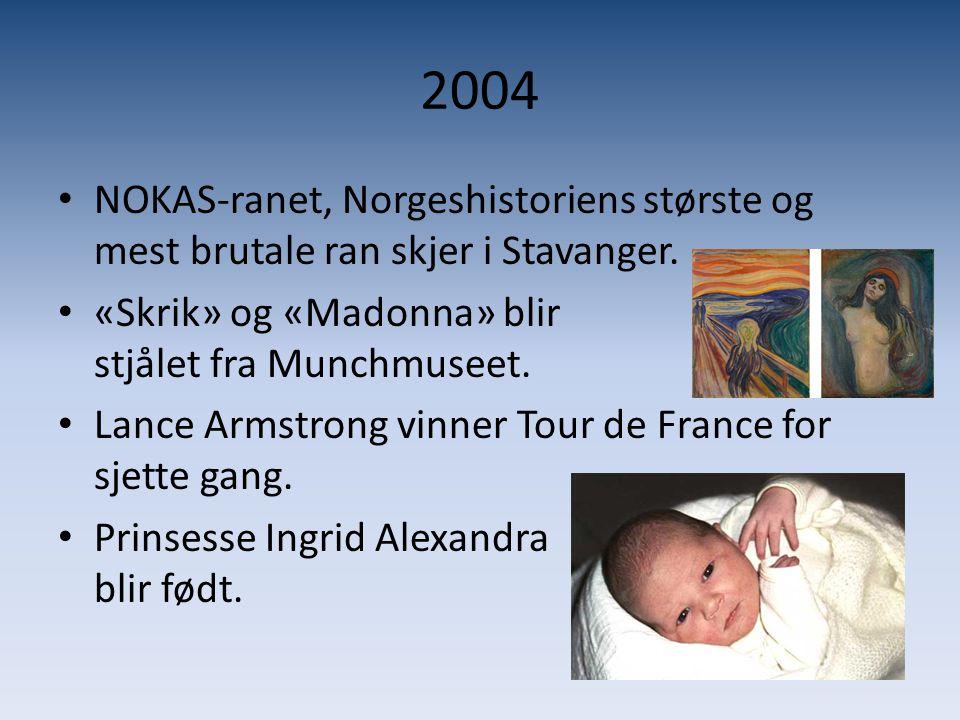 2004 • NOKAS-ranet, Norgeshistoriens største og mest brutale ran skjer i Stavanger. • «Skrik» og «Madonna» blir stjålet fra Munchmuseet. • Lance Armst
