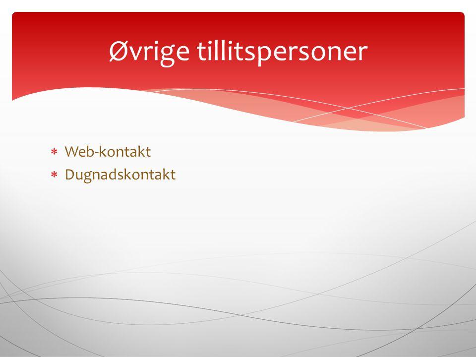  Web-kontakt  Dugnadskontakt Øvrige tillitspersoner