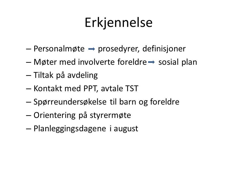 Erkjennelse – Personalmøte prosedyrer, definisjoner – Møter med involverte foreldre sosial plan – Tiltak på avdeling – Kontakt med PPT, avtale TST – S