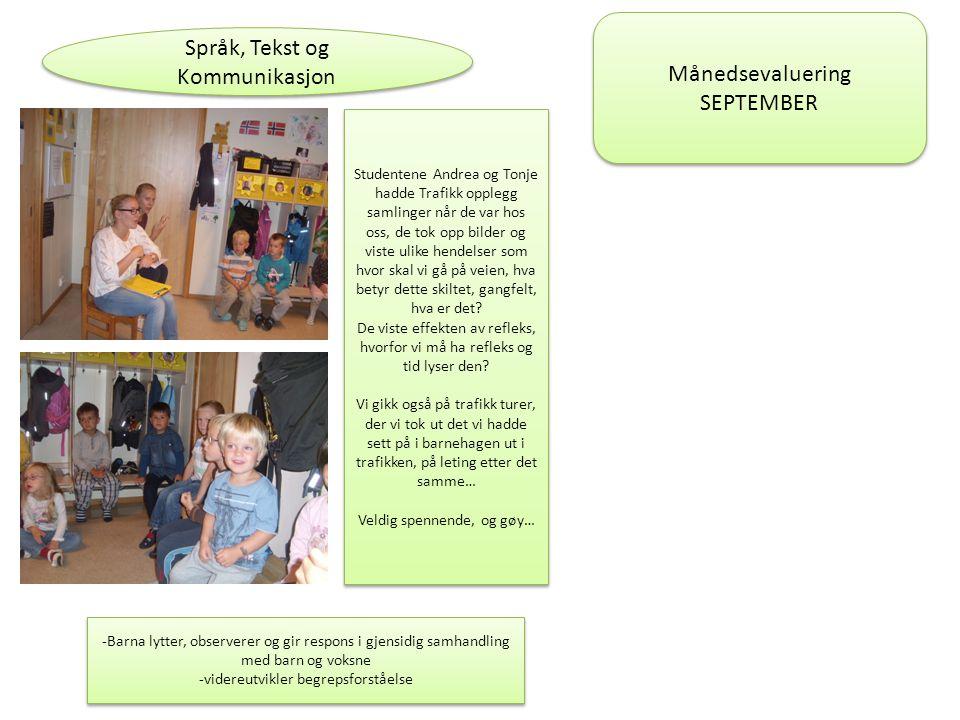Språk, Tekst og Kommunikasjon Studentene Andrea og Tonje hadde Trafikk opplegg samlinger når de var hos oss, de tok opp bilder og viste ulike hendelse