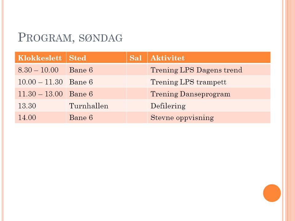 P ROGRAM, SØNDAG KlokkeslettStedSalAktivitet 8.30 – 10.00Bane 6Trening LPS Dagens trend 10.00 – 11.30Bane 6Trening LPS trampett 11.30 – 13.00Bane 6Tre