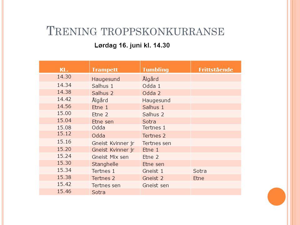 T RENING TROPPSKONKURRANSE Lørdag 16. juni kl. 14.30 KL. Trampett TumblingFrittstående 14.30 HaugesundÅlgård 14.34 Salhus 1Odda 1 14.38 Salhus 2Odda 2