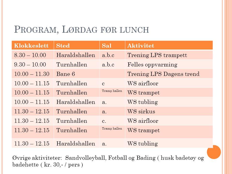P ROGRAM, L ØRDAG ETTER LUNCH KlokkeslettStedSalAktivitet 13.00 – 14.30Bane 6Trening Danseprogram 13.00 – 14.00Turnhallena.WS sirkus 14.00 – 15.00Turnhallena.WS sirkus 14.30Haraldshallen Dommer/trenermøte / innl vanskeskjema 14.30 – 15.50Haraldshallena.b.cTrening troppskonkurranse 16.00 – 18.00Haraldshallena.b.cKonkurranse tropp 19.00 – 20.00Middag 20.00HaraldshallenStevneshow / premieutdeling Ca.21.00TurnhallenKafeLeder / trenermøte 21.00 – 23.30HaraldshallenDisco / musikk / dans Øvrige aktiviteter: Sandvolleyball, Fotball og Bading ( husk badetøy og badehette ( kr.