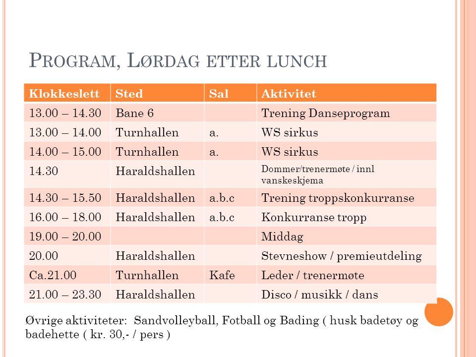 P ROGRAM, L ØRDAG ETTER LUNCH KlokkeslettStedSalAktivitet 13.00 – 14.30Bane 6Trening Danseprogram 13.00 – 14.00Turnhallena.WS sirkus 14.00 – 15.00Turn