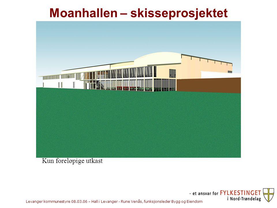 Levanger kommunestyre 08.03.06 – Hall i Levanger - Rune Venås, funksjonsleder Bygg og Eiendom Moanhallen – skisseprosjektet Kun foreløpige utkast