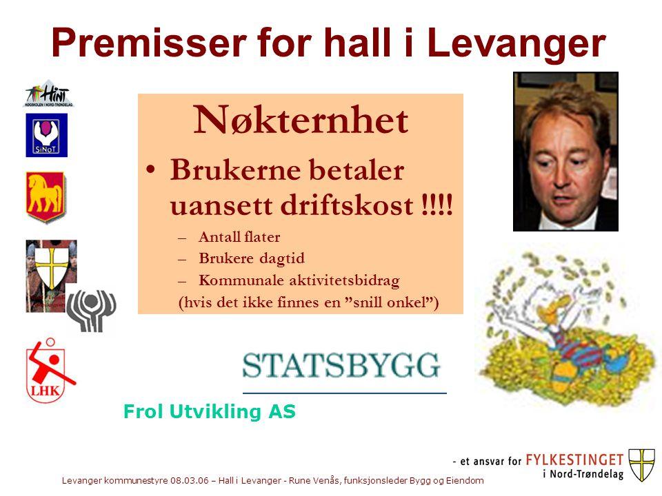 Levanger kommunestyre 08.03.06 – Hall i Levanger - Rune Venås, funksjonsleder Bygg og Eiendom Premisser for hall i Levanger Nøkternhet •Brukerne betaler uansett driftskost !!!.
