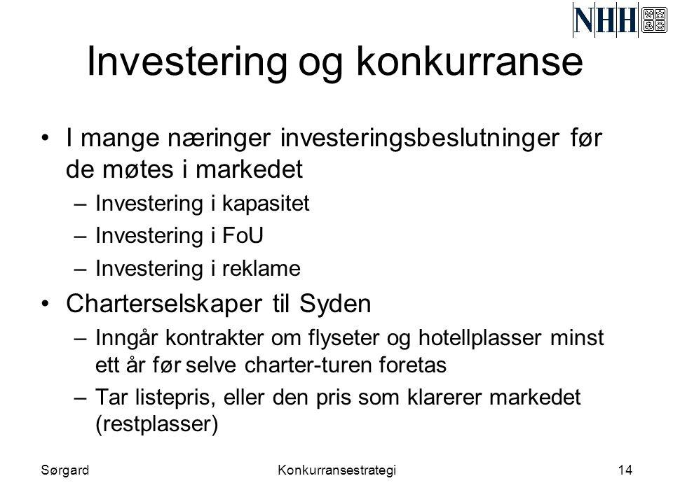 SørgardKonkurransestrategi14 Investering og konkurranse •I mange næringer investeringsbeslutninger før de møtes i markedet –Investering i kapasitet –I
