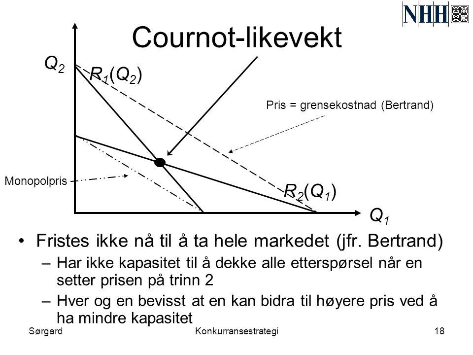 SørgardKonkurransestrategi18 Cournot-likevekt •Fristes ikke nå til å ta hele markedet (jfr. Bertrand) –Har ikke kapasitet til å dekke alle etterspørse