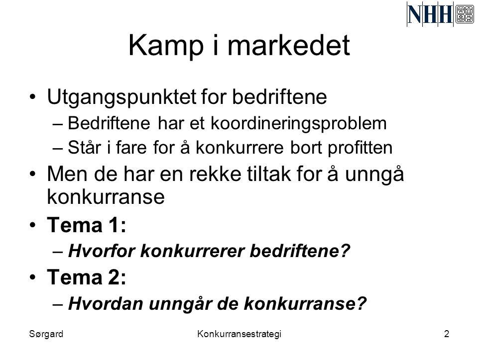 SørgardKonkurransestrategi2 Kamp i markedet •Utgangspunktet for bedriftene –Bedriftene har et koordineringsproblem –Står i fare for å konkurrere bort