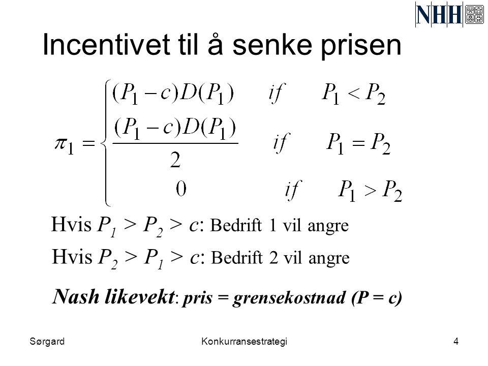 SørgardKonkurransestrategi4 Incentivet til å senke prisen Hvis P 1 > P 2 > c: Bedrift 1 vil angre Hvis P 2 > P 1 > c: Bedrift 2 vil angre Nash likevek