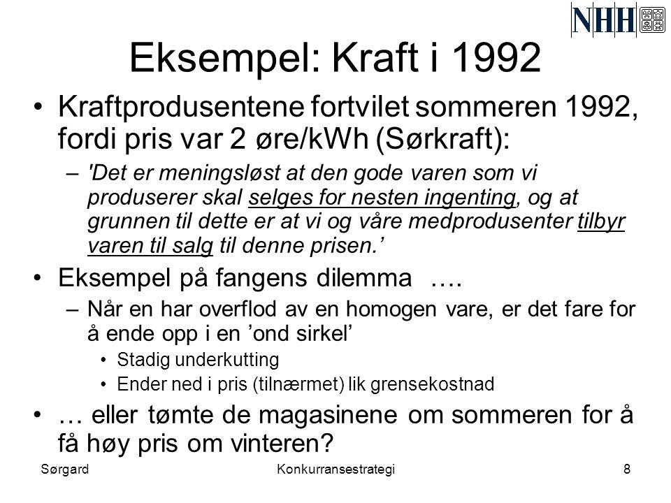 SørgardKonkurransestrategi8 Eksempel: Kraft i 1992 •Kraftprodusentene fortvilet sommeren 1992, fordi pris var 2 øre/kWh (Sørkraft): –'Det er meningslø