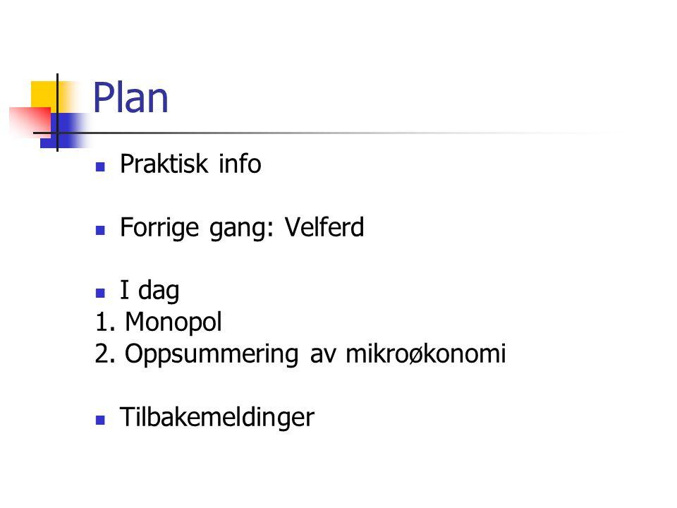 Plan  Praktisk info  Forrige gang: Velferd  I dag 1. Monopol 2. Oppsummering av mikroøkonomi  Tilbakemeldinger