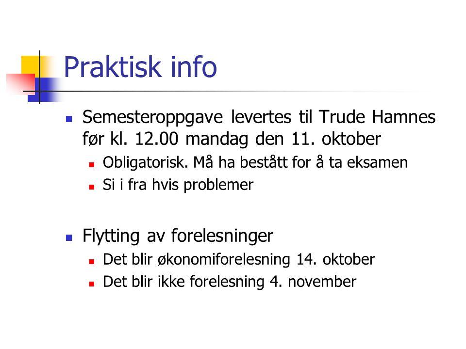 Praktisk info  Semesteroppgave levertes til Trude Hamnes før kl. 12.00 mandag den 11. oktober  Obligatorisk. Må ha bestått for å ta eksamen  Si i f