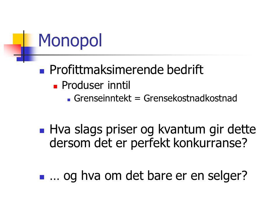 Monopol  Profittmaksimerende bedrift  Produser inntil  Grenseinntekt = Grensekostnadkostnad  Hva slags priser og kvantum gir dette dersom det er p