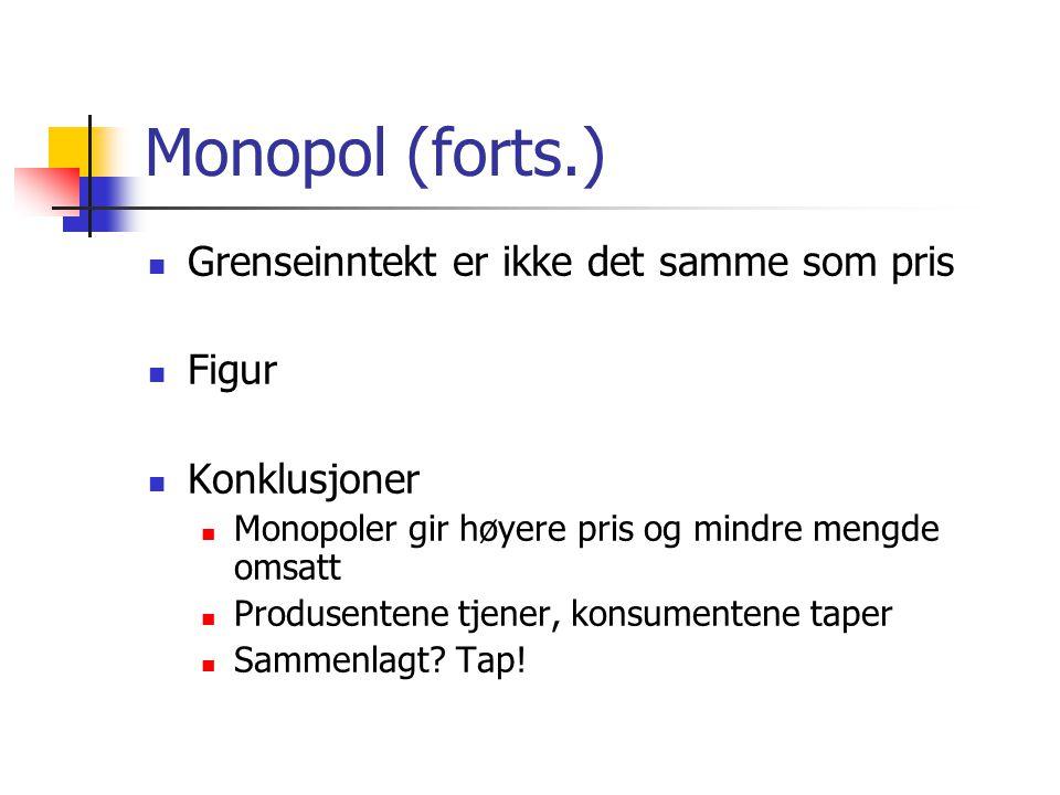 Monopol (forts.)  Grenseinntekt er ikke det samme som pris  Figur  Konklusjoner  Monopoler gir høyere pris og mindre mengde omsatt  Produsentene