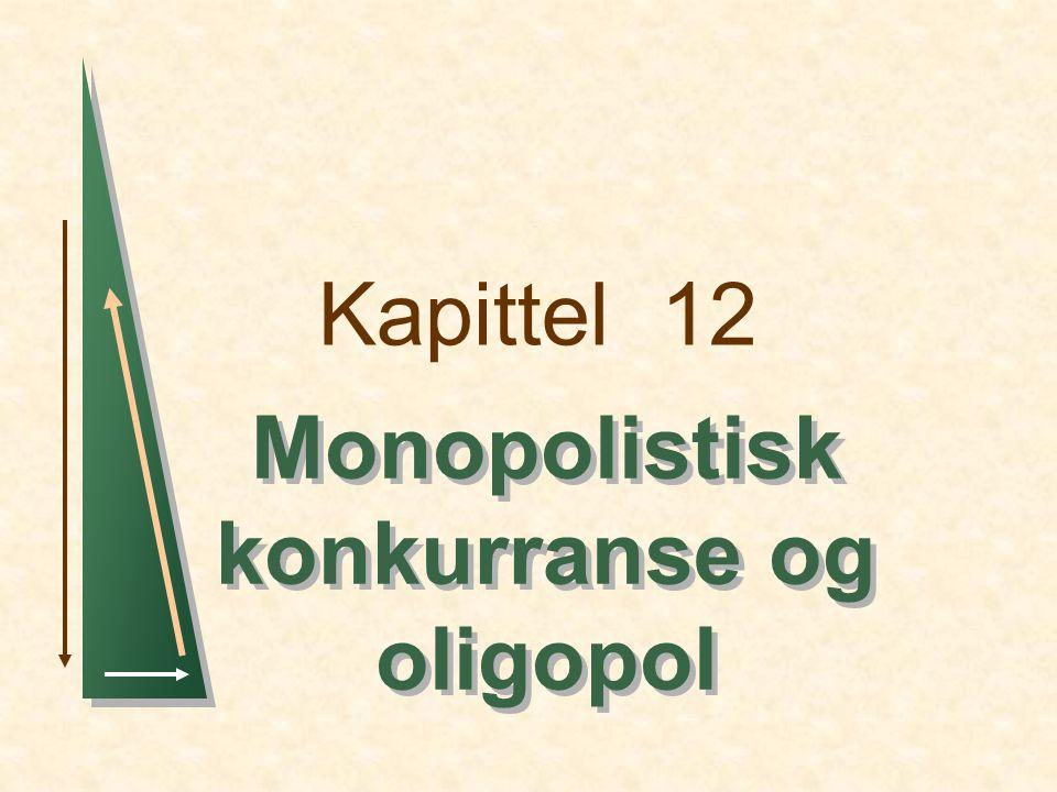 Kapittel 12Slide 22 Bedrift 1s reaksjonskurve bedrift 2s reaksjonskurve Duopol eksempel Q1Q1 Q2Q2 30 10 Cournot likevekt 15 Likevekt ved konkurranse (P = MC; Profit = 0) Sam- arbeid 7.5 Likevekt ved samarbeid Sett fra bedriftens side, er monopol best, fulgt av Cournot og sist frikonkurranse
