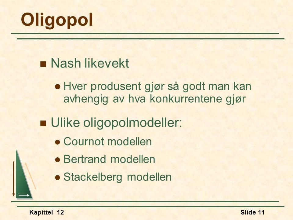Kapittel 12Slide 11 Oligopol  Nash likevekt  Hver produsent gjør så godt man kan avhengig av hva konkurrentene gjør  Ulike oligopolmodeller:  Cournot modellen  Bertrand modellen  Stackelberg modellen