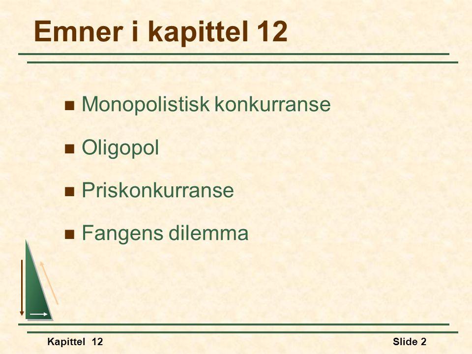 Kapittel 12Slide 2 Emner i kapittel 12  Monopolistisk konkurranse  Oligopol  Priskonkurranse  Fangens dilemma
