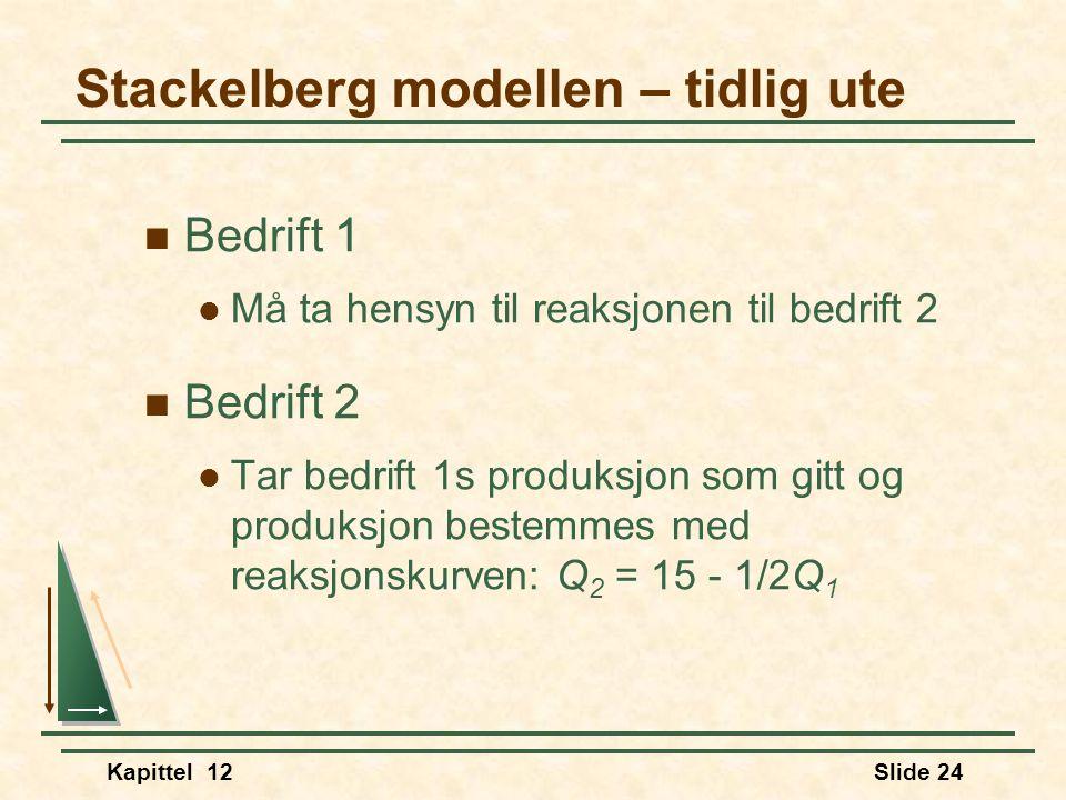 Kapittel 12Slide 24  Bedrift 1  Må ta hensyn til reaksjonen til bedrift 2  Bedrift 2  Tar bedrift 1s produksjon som gitt og produksjon bestemmes med reaksjonskurven: Q 2 = 15 - 1/2Q 1 Stackelberg modellen – tidlig ute