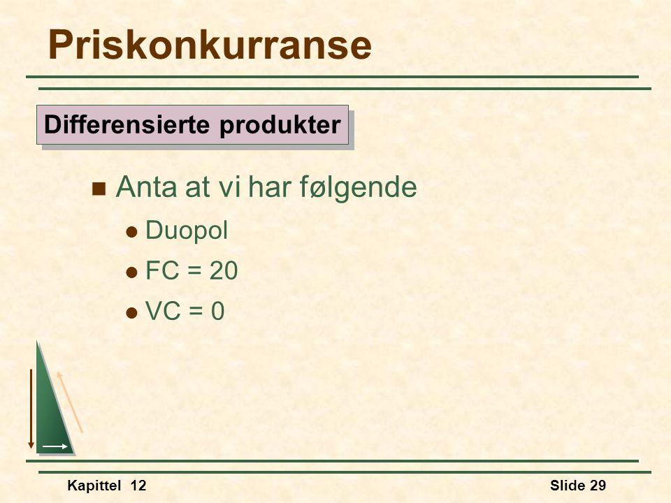 Kapittel 12Slide 29 Priskonkurranse  Anta at vi har følgende  Duopol  FC = 20  VC = 0 Differensierte produkter